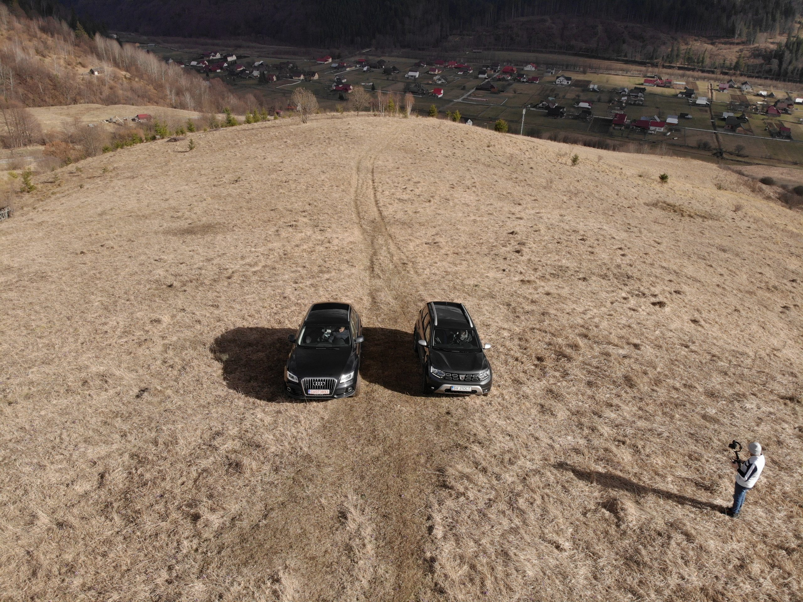 Duster and Audi captured from drone